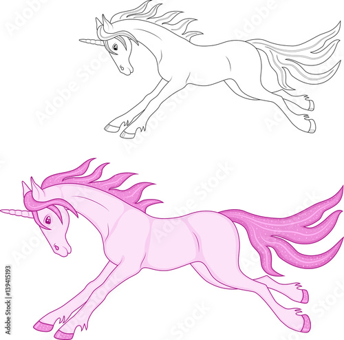 magical pink unicorn, coloring and color image