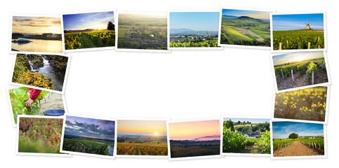 Heap of Beaujolais travel photos with a white background