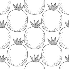 Black and white seamless pattern with pomegranates for coloring book. Fruit background