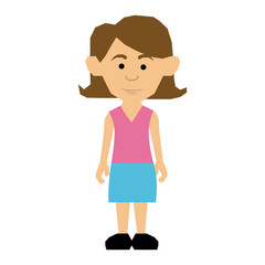colorful picture teenager with short hair and skirt vector illustration