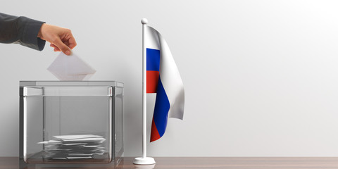 Ballot box and a small Russia flag. 3d illustration