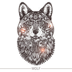 Ornamental Tattoo Wolf Head. Highly Detailed Abstract Hand Drawn Style