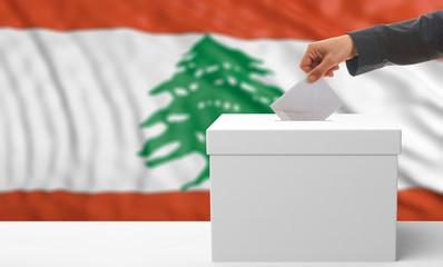Voter on a Lebanon flag background. 3d illustration
