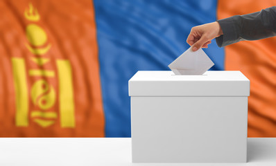 Voter on a Mongolia flag background. 3d illustration