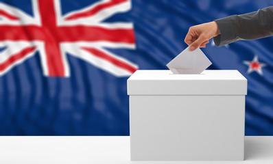 Voter on a New Zealand flag background. 3d illustration