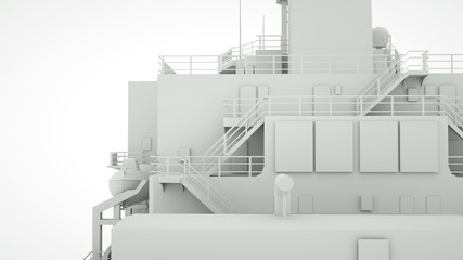 Elements of the cargo ship, 3 d render