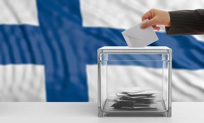 Voter on a Finland flag background. 3d illustration