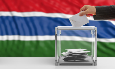 Voter on a Gambia flag background. 3d illustration