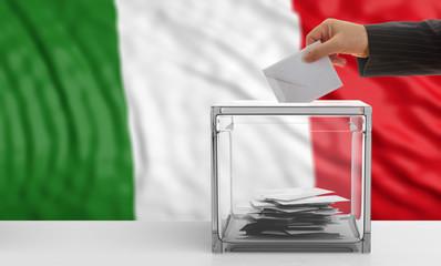 Voter on an Italy flag background. 3d illustration