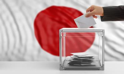 Voter on a Japan flag background. 3d illustration
