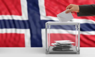 Voter on a Norway flag background. 3d illustration