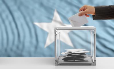 Voter on a Somalia flag background. 3d illustration