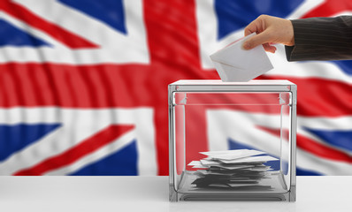 UK elections. Voter on an United Kingdom flag background. 3d illustration
