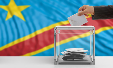 Congo elections. Voter on a Congo flag background. 3d illustration