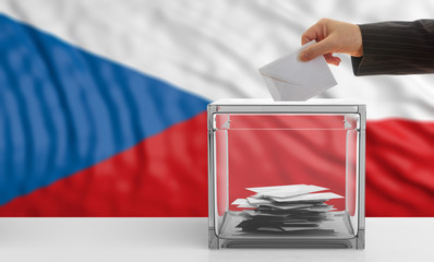 Czech Republic elections. Voter on a Czech Republic flag background. 3d illustration