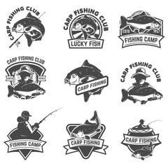 Set of carp fishing labels isolated on white background. Design elements for logo, label, emblem, sign. Vector illustration.