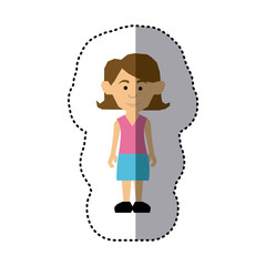 sticker colorful picture teenager with short hair and skirt vector illustration