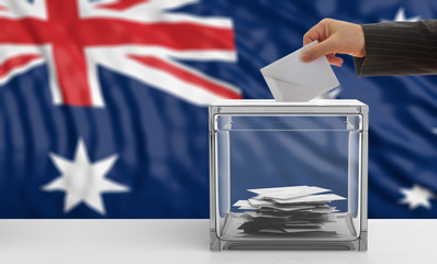 Australia elections. Voter on an Australia flag background. 3d illustration