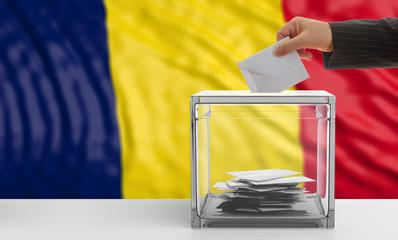 Voter on a Chad flag background. 3d illustration