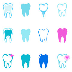 set of tooth icons. Stomatology. Design elements for logo, label, emblem,sign. Vector illustration