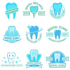 Set of stomatology labels color isolated on white background. Design elements for logo, label, emblem, poster, t-shirt. Vector illustration.