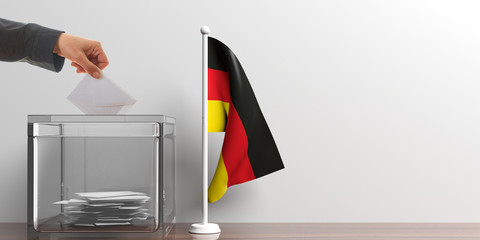 Ballot box and a small Germany flag. 3d illustration