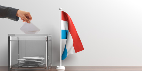 Ballot box and a small Luxembourg flag. 3d illustration