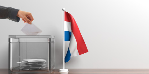Ballot box and a small Netherlands flag. 3d illustration
