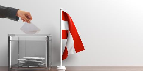 Ballot box and a small Austria flag. 3d illustration