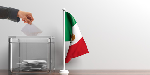 Ballot box and a small Mexico flag. 3d illustration
