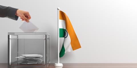 Ballot box and a small India flag. 3d illustration