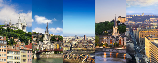Lyon rectangular travel photo collage