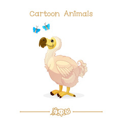 Toons series cartoon animals: extinct dodo & butterflies