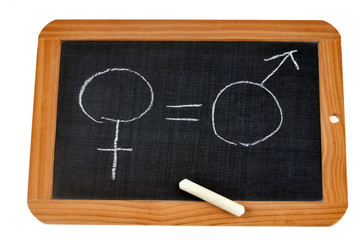 Ardoise avec égalité entre le symbole féminin et masculin