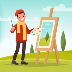 Artist paints a picture of landscape in the nature. Plein Air. Vector illustration