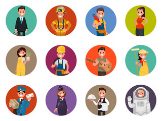 Set avatars characters of different professions: firefighter, astronaut, plumber