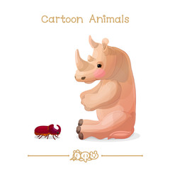Toons series cartoon animals: Rhino / rhinoceros & rhinoceros beetle