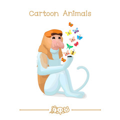 Toons series cartoon animals: Proboscis monkey & butterflies