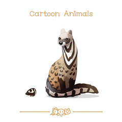 Toons series cartoon animals: civet cat & treehopper