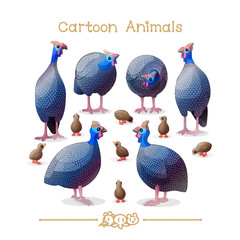 Toons series cartoon animals: guineafowls