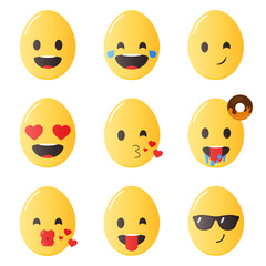 Easter emoticons. Egg emoji in flat style