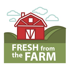 Farm fresh product label vector farmer barn template