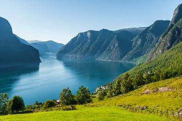 View of Aurlandsfjorden, summer at viewpoint Stegastein. Sogn og Fjordane county, Norway.