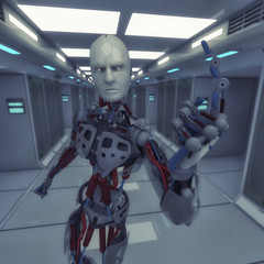 3d rendering. Male robot number one