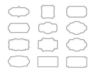 Grey vintage frames. Set isolated elements.