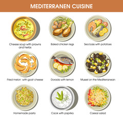 Mediterranean cuisine dishes vector icons set for restaurant menu