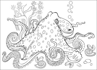 Black and white page for coloring. Fantasy drawing of octopus.  Worksheet for children and adults. Vector image.
