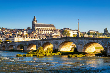 Fototapete - Old bridge over the Loire in Blois, France