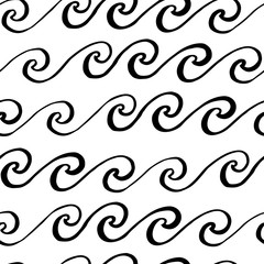 Seamless pattern with wave, in marine style. Hand drawing of black ink on a white background. Vector Image.