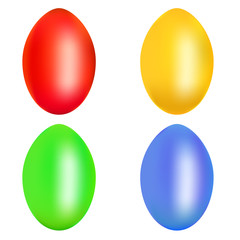 Set of colorful Easter eggs isolated over the white background
